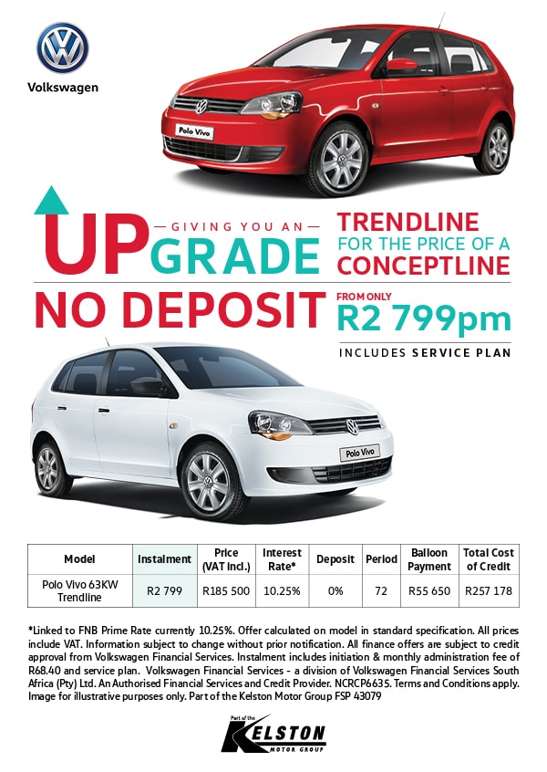 Upgrade to the Polo Vivo Trendline and pay No Deposit