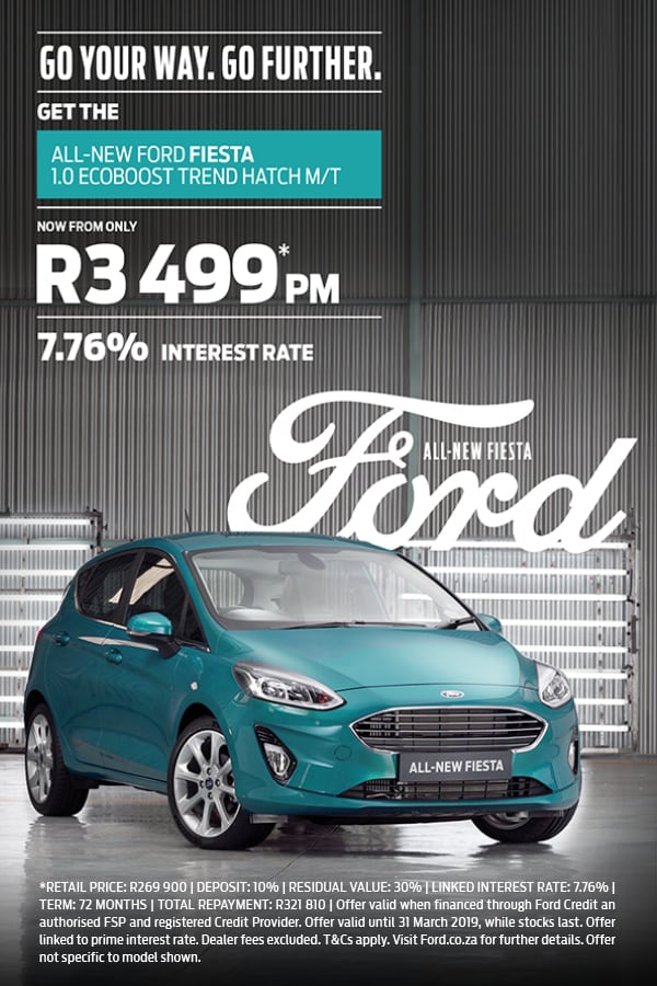 Drive the New Ford Fiesta from R3,499pm