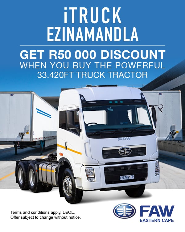 Get R50 000 discount on the FAW 33.420 FT Truck Tractor this month