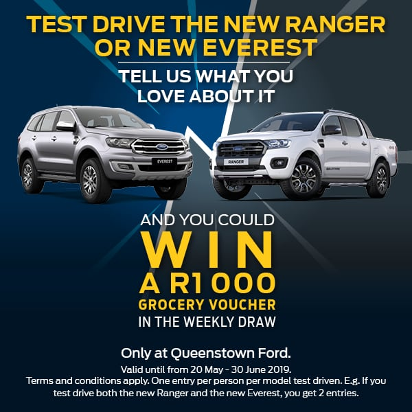 Test drive the new Ranger and new Everest and you could win R1000 in vouchers