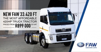 New FAW 33.420 Truck Tractor from R899,000 (ex. VAT)