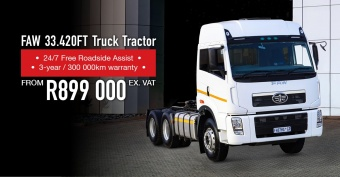 FAW Truck Tractor from R899,000 (ex. VAT)