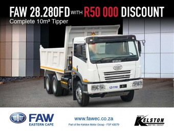 Get R50 000 discount on the FAW 28.280 Tipper