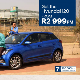 Get the Hyundai i20 from R2 999pm or the New and Improved Hyundai Creta from R3 999pm.