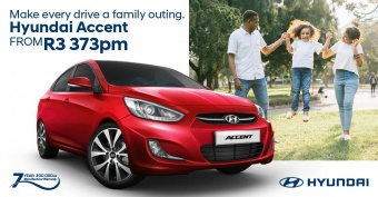 Get the perfect family sedan, the Accent from R3,373pm
