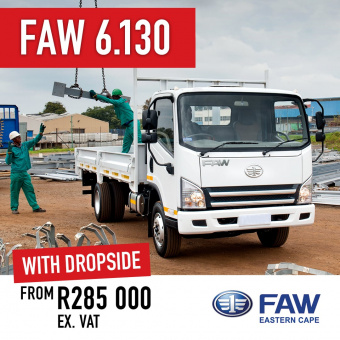 Deliver on your promises with the FAW 6.130 Dropside from R285 000 ex VAT