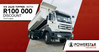 Get up to R100 000 discount on our VX Tipper truck