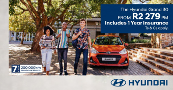 Drive the Grand i10 from R2279pm and get 1 year free insurance included*