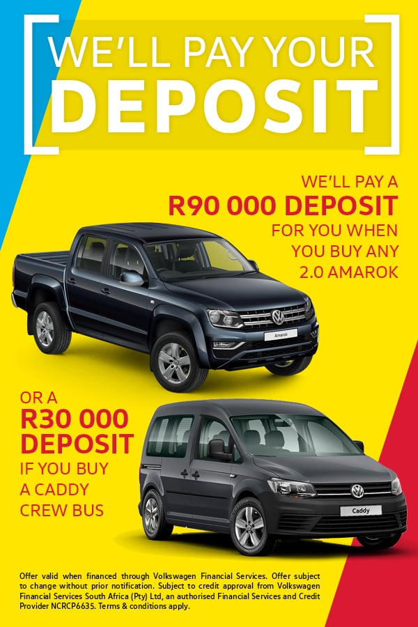 We'll pay your deposit when you buy an Amarok or Caddy Crew Bus