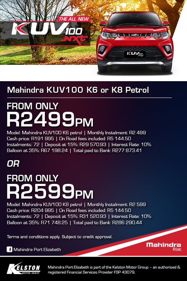 Drive the KUV100  K6 or K8 from only R2499pm 1000w