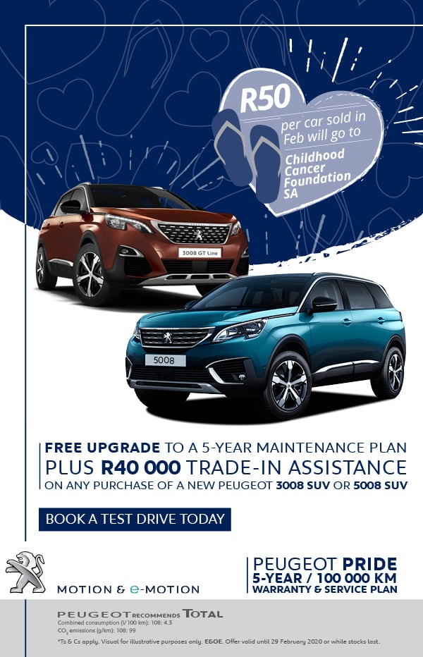 Get R40,000 trade-in assistance on the 3008 and 5008 SUV's