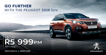 Get the stunning Peugeot 3008 SUV 1.2THP M/T from R5999pm