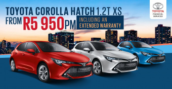 Drive Toyota Corolla Hatch 1.2T XS from R5,950pm incl 6 year extended warranty