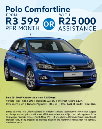 Drive the Polo Comfortline from R3,599pm OR with R25,000 trade assistance