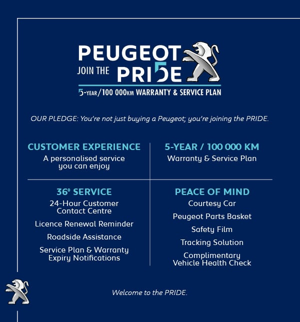 Join the Pride with Peugeot offering a 5 year warranty and courtesy car*